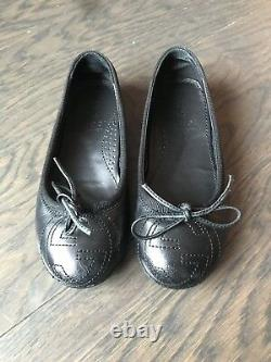 Gucci Girl Black Leather Ballet Flats Shoes Size 10.5 27