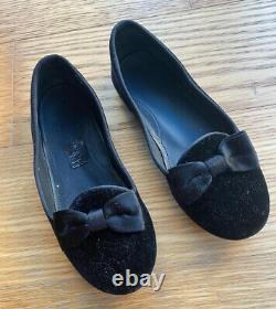Gucci Girl Black Velvet Ballet Bow Flats Loafers Shoes Size 29 12