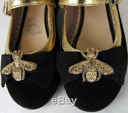 Gucci Girl Children Black Suede Ballet Flats withBee Bow 27/US 10.5 455396 1066