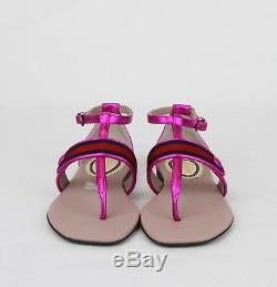 Gucci Girl Children's Pink Metallic Leather Sandal withRed Blue Web 455382 5565