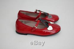 Gucci Girl's Kids Heart Ballet Flat- Red Patent Leather- Toddler Size 25 / 8.5US