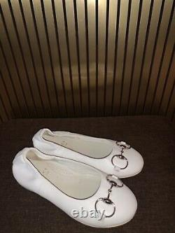 Gucci Girls Ballerina Gold Flat Shoes. 258022 / Size 29. / US 12. White