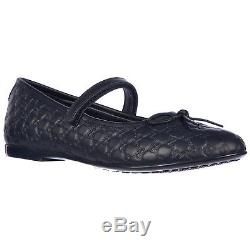 Gucci Girls Ballet Flats Ballerinas Child Leather New Nappa Thea Blue E61