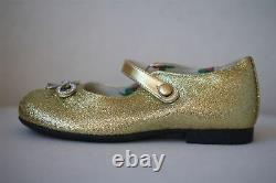 Gucci Girls Gold Glitter Crystal Bow Leather Shoes Eu 25 Uk 8
