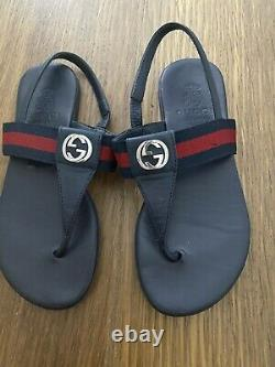 Gucci Girls Navy Blue Red Web Thongs Sandals Shoes Size 12 29