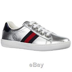 Gucci Girls Shoes Baby Child Leather Sneakers New Ace Silver 478