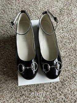 Gucci Girls white pink blue black patent ankle shoes US 13 G 31 WORN ONCE