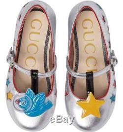 Gucci Kid's Girls Size 26 Star & Applique Bird Detail T-Bar Shoes