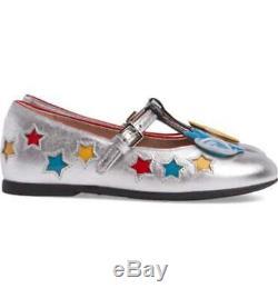 Gucci Kid's Girls Size 26 Star & Applique Bird Detail T-Bar Shoes