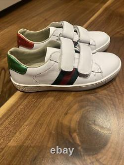 Gucci Kid's New Ace White Leather Sneakers Shoes Size 30 12 13 Boys Girls