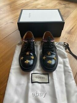 Gucci Kids Bees and Stars Lace Up Black Leather Shoes Size 29 12 Boys Girls