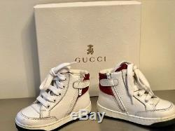 Gucci Kids Boy Girl Sz EU 20 High-Top Leather Sneakers Shoes GG Trainers