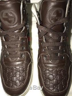 Gucci Kids Boys Girls Children's Leather Web High-top Sneakers Size 30