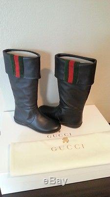 Gucci Kids Girl's Boots Leather Black Size 11.5 Retail $349