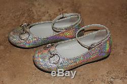 Gucci Kids Girls Horsebit Ankle Strap Ballerina Flats Iridescent 9US 25EU (P5)