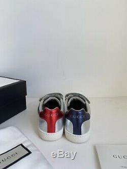 Gucci Kids New Ace VL Sneakers Shoes In Silver Metallic size 31, US 13 Kids $345