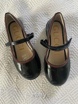 Gucci Little Girls Mary Jane Black Patent Dress Shoes Size 25 NWOB