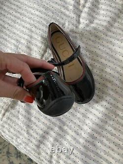 Gucci Little Girls Mary Jane Black Patent Dress Shoes Size 26 NWOB