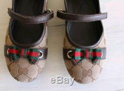 Gucci Monogram Canvas Leather Beige Girls Kids Flats Ballerinas Shoes 32 US 1