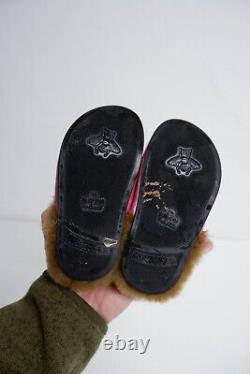 Gucci Princetown Pink Metallic Slingback Shoes Size 24 Uk 7 Infant Horsebit Fur