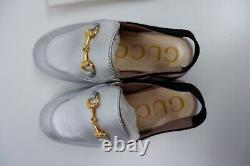 Gucci Silver Leather Shoes Size 25 Uk 7 Infant Mules Horse Bit box VGC Girls
