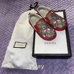 Gucci Toddler Girl Authentic GG Supreme Sylvia Bow Slip-On Sneaker Shoes 25 / 9