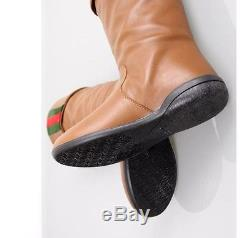 Gucci girls Kids Leather shoes Boots Web Detail black red green size 1 uk 33 Eu