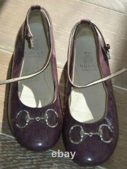 Gucci girls horsebit shoes purple Size 30-32