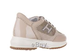 Hogan Girls Shoes Child Leather Sneakers New Interactive H Flock Beige E05