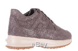 HOGAN GIRLS SHOES CHILD SUEDE LEATHER SNEAKERS NEW GOLD 221