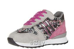 Hogan Rebel Girls Shoes Baby Child Suede Leather Sneakers New R261 Pink 176