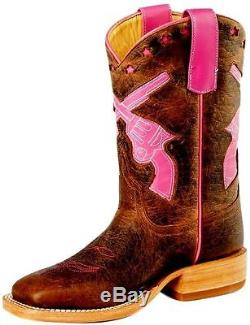 Horse Power Western Boots Girls Kids Pistols 5 Youth Tan Pink HPY7011