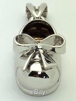 Italian 14K White Gold Baby Girl Shoe Child Shoe with Ribbon Charm Pendant 4 g