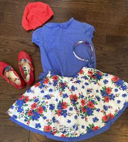 Janie and Jack Girls 5 HTF Italian Flower Outfit Skirt Top Shoes Headband Beret