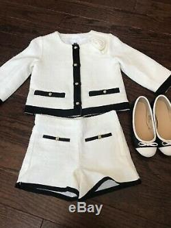 Janie and Jack Girls 5 Uptown Outing Black White Boucle Jacket Shorts Shoes 11