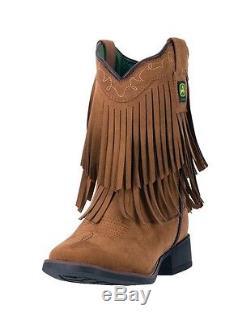 John Deere Western Boot Girls Kids Micro Fringe Broad Toe Brown JD2026