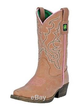 John Deere Western Boots Girls Cowboy Fancy Stitch Snip Tan JD2244