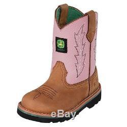 John Deere Western Boots Girls Kids Cowboy 5.5 Infant Tan Pink JD1185