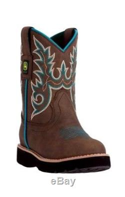 John Deere Western Boots Girls Kids Round Toe Steel Shank Brown JD2032