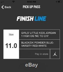 Jordan 1 High OG LITTLE KIDS NC To CHI SIZE 11c PS Girls DeadStock! IN HAND