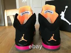 Jordan 5 Retro Girls Shoes Floridian 2012 Size 7y 440892 067 Black Citrus Pink