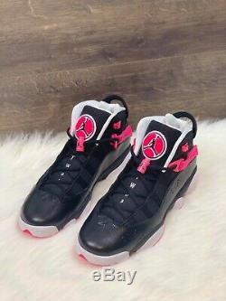 Jordan 6 Rings Basketball Shoes 323399-061 Black/Pink Youth 9Y Women's Size 10.5