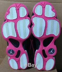 Jordan 6 Rings Black/Hyper Pink/White 323399-061 Girls Big Kids Tweener Sz 8.5Y