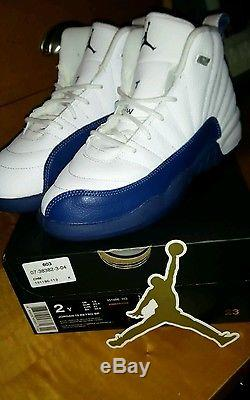Jordan Retro 12's French Blues Size 2 Youth Kids Shoes Boys And Girls