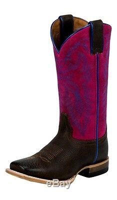 Justin Western Boots Girls Kids Wide Square Toe Leather Outsole 342JR