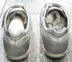 Kids Girls Prada Sneakers Shoes 2 Strap Silver Size Eu 32 / Us 1y