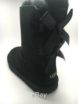 Kids Girls Women Boot Ugg Bailey Bow II Black Water Resistant 1017394k Size 5