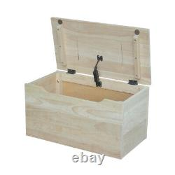 Kids Toys Shoes Storage Box Small Playroom Organizer Chest Solid Wood Unfinished