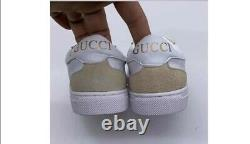 Little Girl's Kids GUCCI White Leather Stripe Pearls Gold Studs Shoes Sneakers