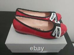 MOSCHINO Girls Kids Red Patent Leather Shoes With Logo Ribbon Bow